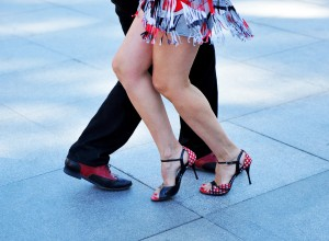 Performance of Argentine tango dancers on the street