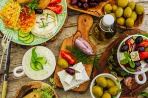 Greek cuisine dishes - Greek salad, choriatiki, tzatziki
